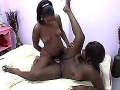 Appetizing lezzie with narrow black pussy