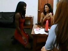 Asian slutty and ebony lesbian spoil innocent girl