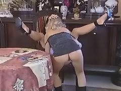 Lezzie gets toy in her fuzzy pussy