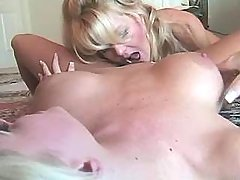 Blonde lesbian licks busty whore